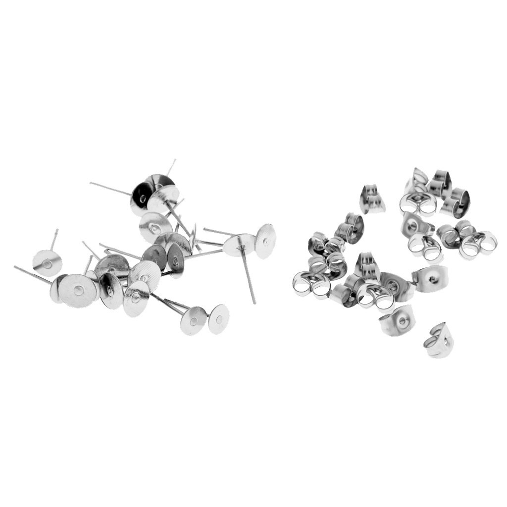 120 Pairs Stainless Steel Ear Posts Butterfly Backs DIY Earring Pad Pin Post Jewelry Making