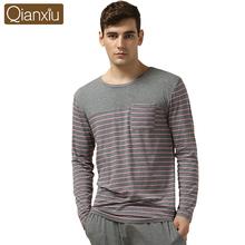 Qianxiu Modal Sleepwear Suit for men Classic Stripe Lounge Wear Long-sleeve Lovers Pajamas Sets(China (Mainland))