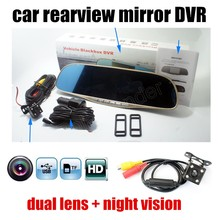 Buy 5 Inch HD Rear view Mirror Car DVR include Rear View camera With G-sensor Loop Recording night vision camcorder free shipping for $62.60 in AliExpress store