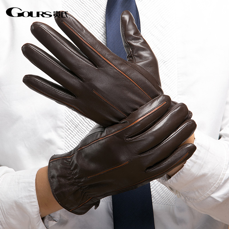 Free Shipping Gloves 2014 Winter New Men Genuine Leather Gloves Sheepskin Mittens Brown Plus Velvet Warm Fashion Driving Outdoor
