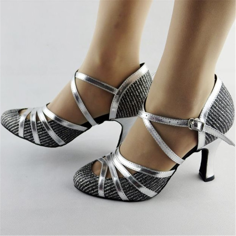 Giltter Silver Dance Shoes Salsa Latin Dance Shoes Women ...