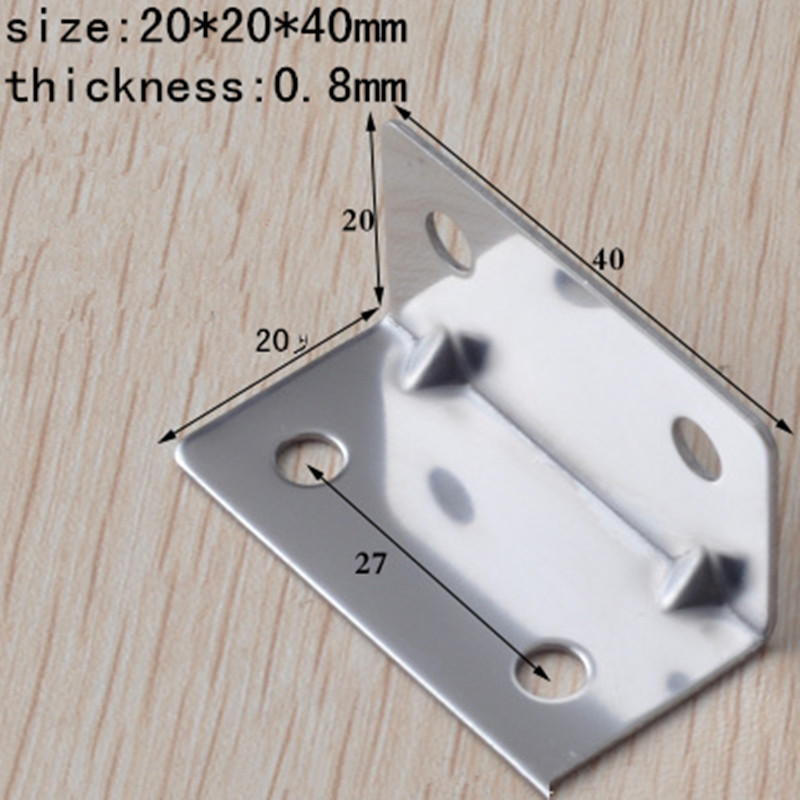 20*40MM Stainless steel angle code Rectangular connector bracket, furniture assembly fittings Corner Connector 40pcs(China (Mainland))