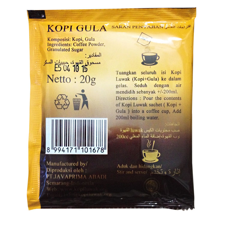 3bags 20g bag High Quality Luwak arabica coffee from Indonesia Luwak coffee gula Free shiping