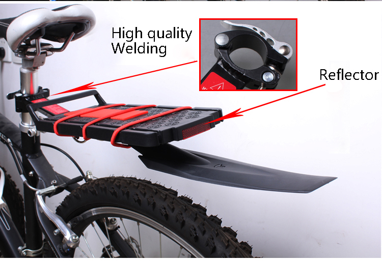 2016 New Bike Cycling Race MTB Road Saddle Rear Removable Bicycle Bracket Reflector Wings Fender Parts Accessories Shelf Trailer(China (Mainland))