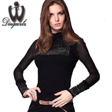Buy New fashion Spring&Autumn 2016 Gauze Knitted T shirt Women rhinestones all-match turtleneck long-sleeve basic shirt Casual Tops for $13.91 in AliExpress store