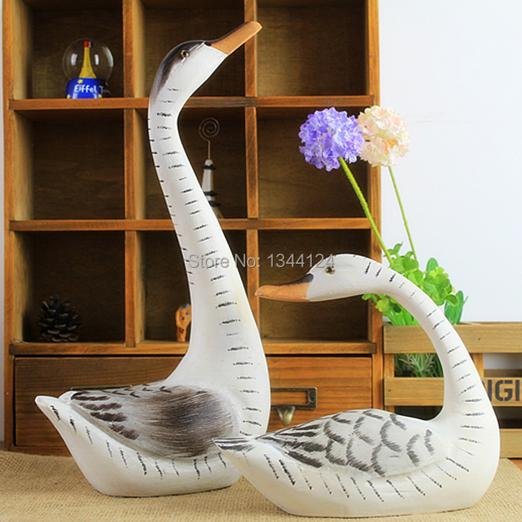 Nordic wood wooden ornaments fashion lovers goose home decoration sets of two wooden crafts ornaments(China (Mainland))