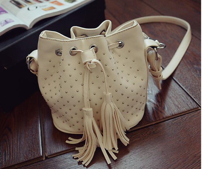 New Fashion 2015 Rivet Bucket Bag Draw String Bags Women Leather Tassel Handbags Mini Tote Bag 5 Colors bolsa feminina A459(China (Mainland))