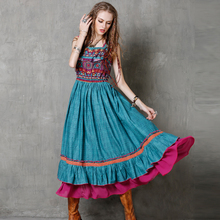 Summer Women Maxi Dress 2016 Yuzi.may Boho New Cotton Linen Dresses Floral Print Sundress Embroider Vestido A8127 Vestidos(China (Mainland))