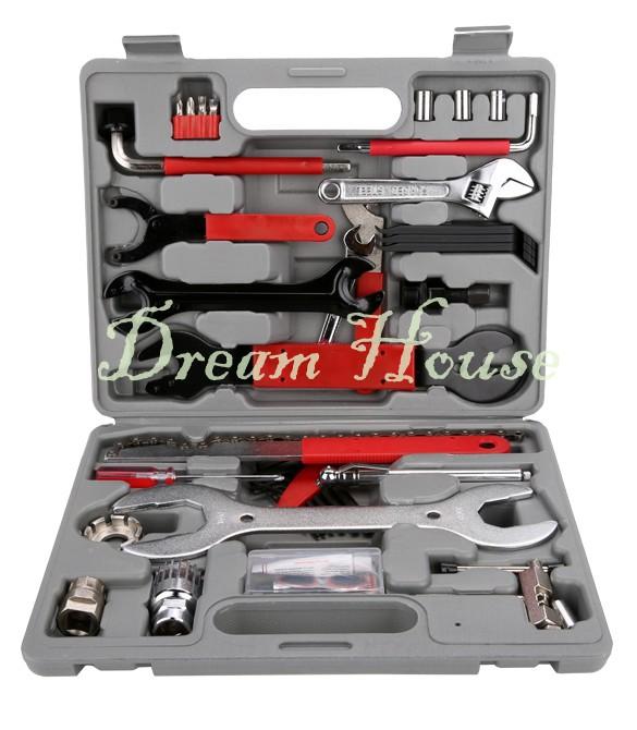 44pcs/set Bike Repair Tool Bag Mini Pump Folding Tool Bicycle Tyre Repair With Pouch Multifunctional Tools Set Kit With Box US50(China (Mainland))