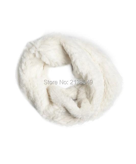 FS014 35*28 см Женская Мода Зима Шарф Реального Меха Кролика Вязать Кольцо