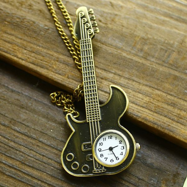 New arrival guitar watch antique vintage rock guitar shaped with long necklace pocket watch lock for women ladies dropship(China (Mainland))