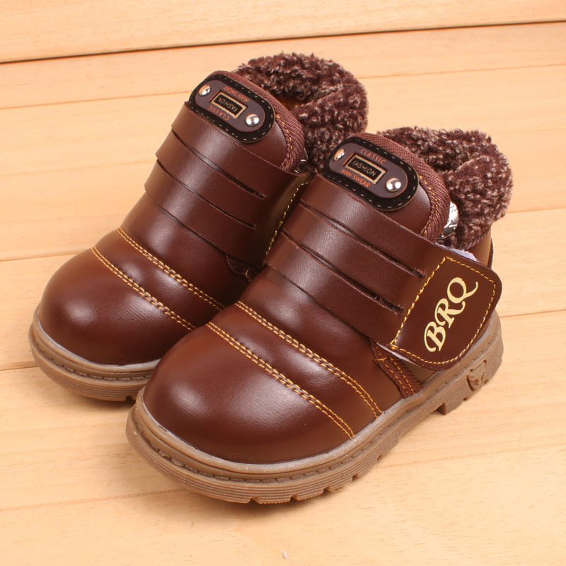 [Classic]New Kids Children's Leathers shoes Pu Material Baby boys girls thick warm shoes for children shoes XZ-901(China (Mainland))