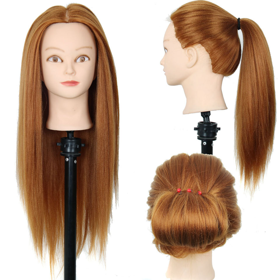 """24""""Mannequin Head Hair Yaki Synthetic Maniqui Hairdressing Doll Heads Cosmetology Mannequin Heads Women Hairdresser Manikin Sale(China (Mainland))"""