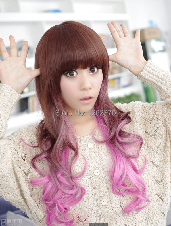Harajuku Anime Wig Cosplay Long Wavy Curly Costume Heat Resistant Synthetic Hair Brown And Purple Ombre Wigs With Bangs Pelucas<br><br>Aliexpress