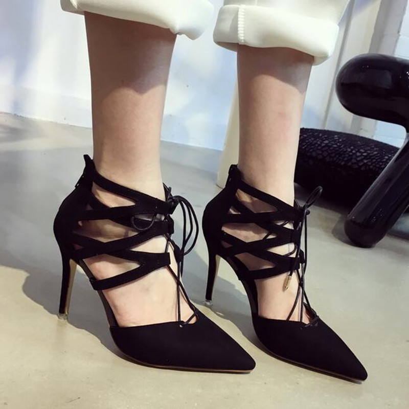 Фотография 2016 Summer Newest Sexy Pointed Toe Women Black Suede Pumps With Ankle Cross Lace Up 8cm High Heels Ladies Designer Dress Shoes