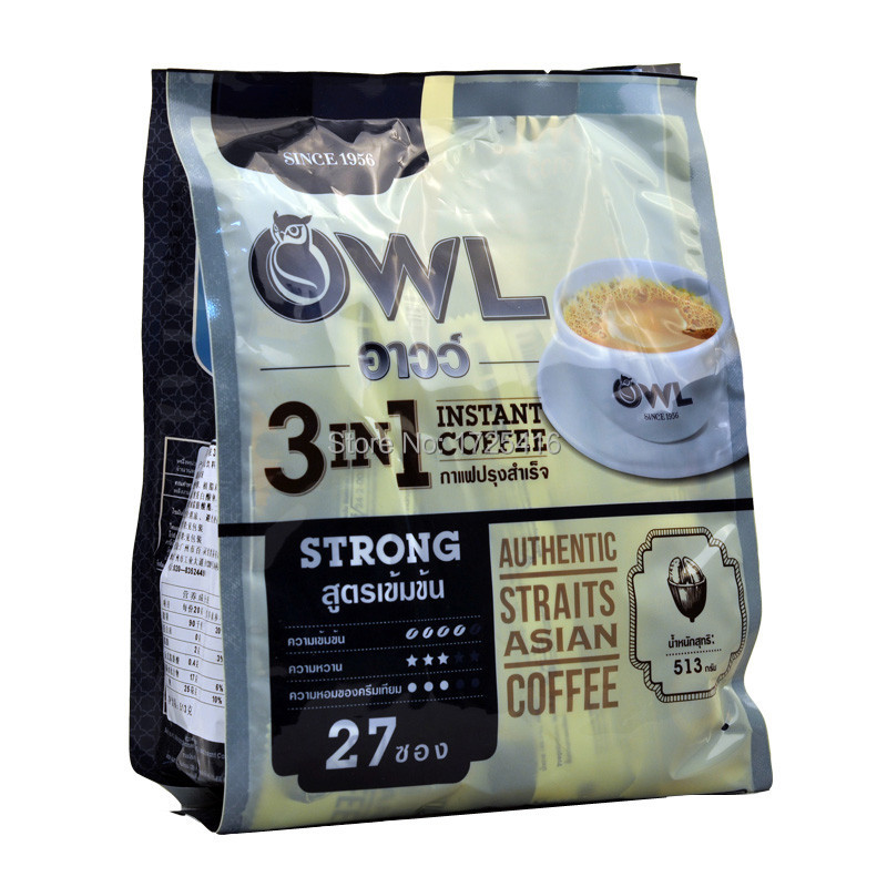 The owl espresso 3 in 1 instant coffee 513 g Singapore imports strong coffee taste Glycol fragrance free shipping(China (Mainland))