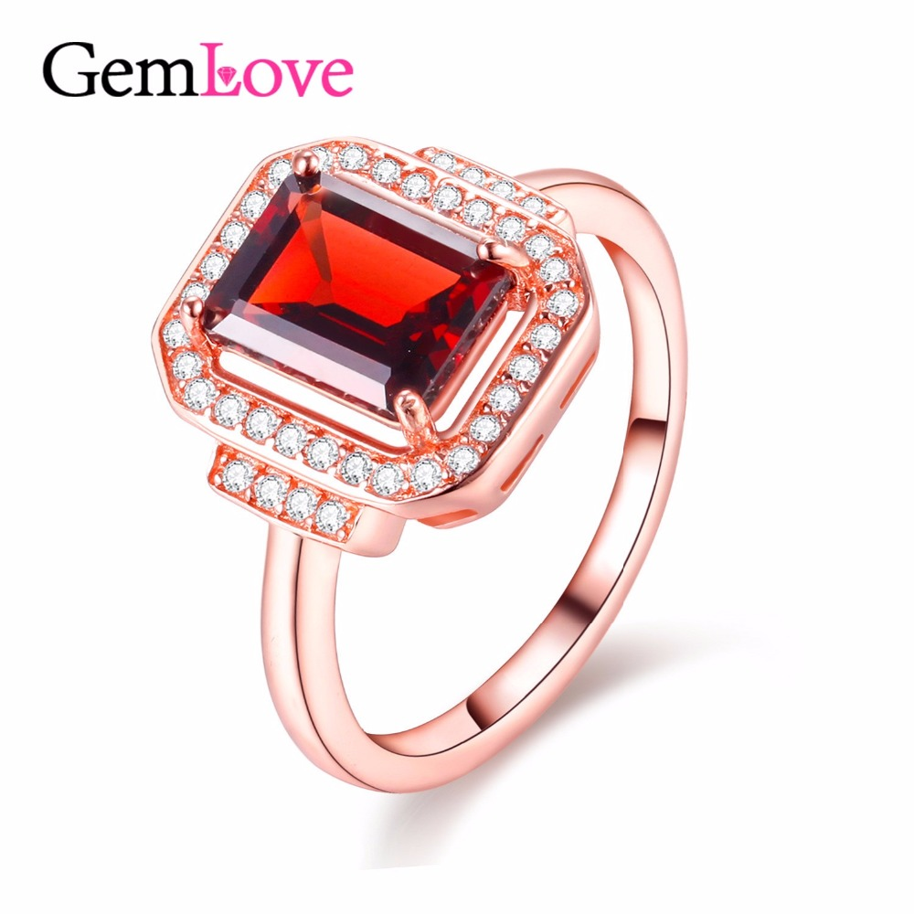 Gemlove Garnet 925 Sterling Silver Ring Gemstone Rose Gold Plated Rings with Natural Stones Alibaba-Express with Box 40% FJ007(China (Mainland))