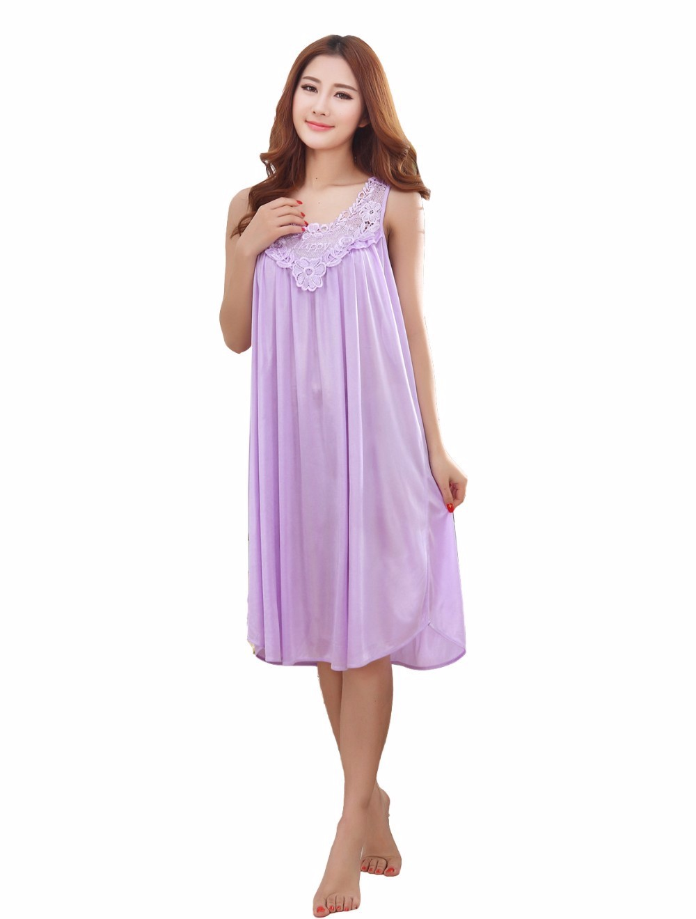 52331243f ... long silk nightgowns nightdress dress for women plus size ladies  lingerie maternity sleepwear dresses pregnant nightwear ...