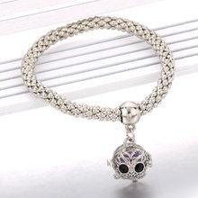 Pearl cage จี้สร้อยข้อมือน้ำมันหอมระเหยกระจายกำไลข้อมือ Silver Charm สร้อยข้อมือ Popcorn Chain (China)