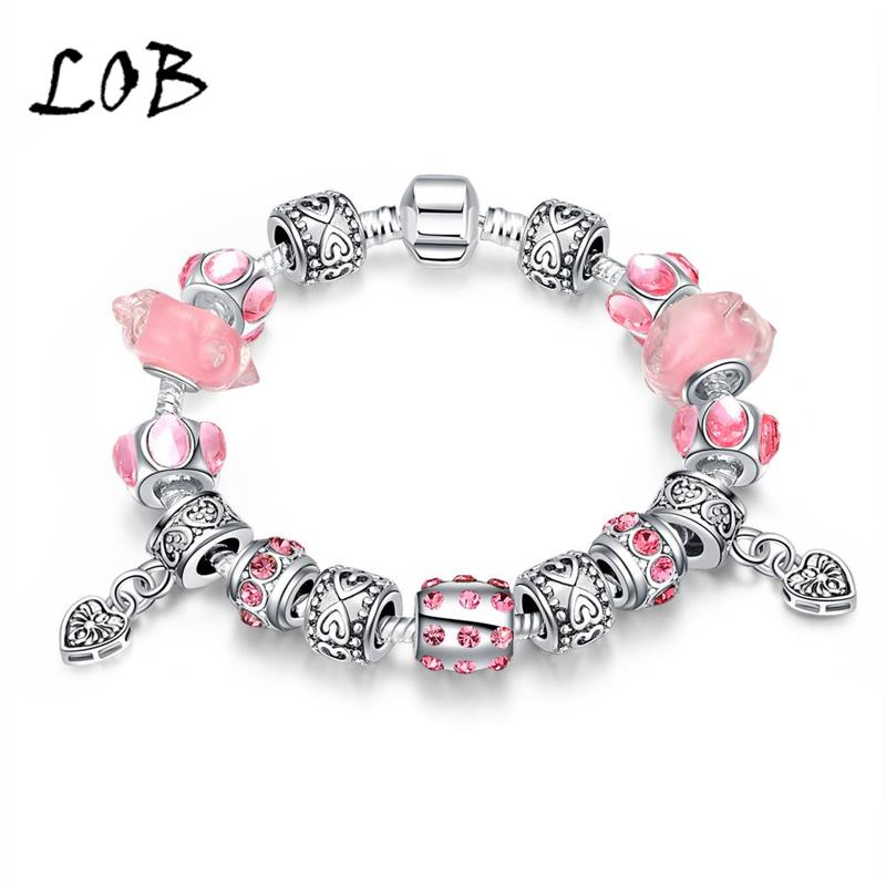 Elegant Antique Silver Plated Dual Heart Charm Bracelet with Pink Murano Glass Beads Bracelets Fit Snake Chain(China (Mainland))
