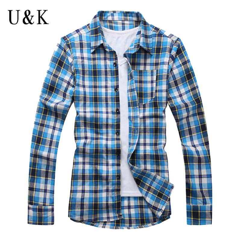 Shirt Men Fashion Casual Men s Long Sleeve Shirts New font b Plaid b font Shirts
