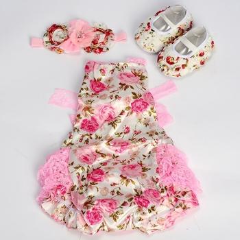 Newborn roupas de recem nascido menina Baby clothes Lace para Romper Flower dressed infant Shoes Rhinestone Headband Set #3T1074