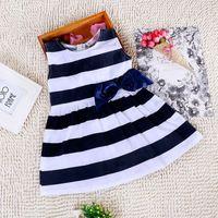 Baby Kid Girls One Piece Dress Blue White Striped Bow Summer Dress