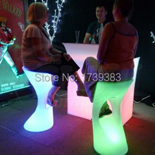 Led Luminous Furniture rechargeable High bar stool lights unbreakable bar stools KTV outdoor/indoor personalized high bar stool
