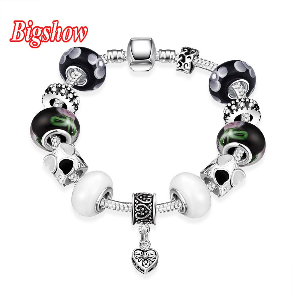 silver plated bracelet White Black glass beads charm bracelet Black Spider Heart Pendant H007(China (Mainland))
