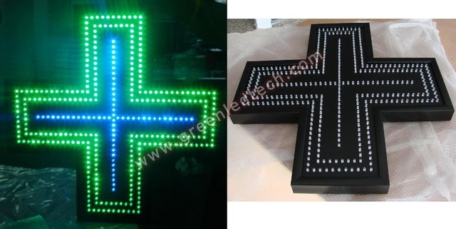 56x 56cm  LED Pharmacy Sign Green Color Single- sided Indoor used hot sale pharmacy light box
