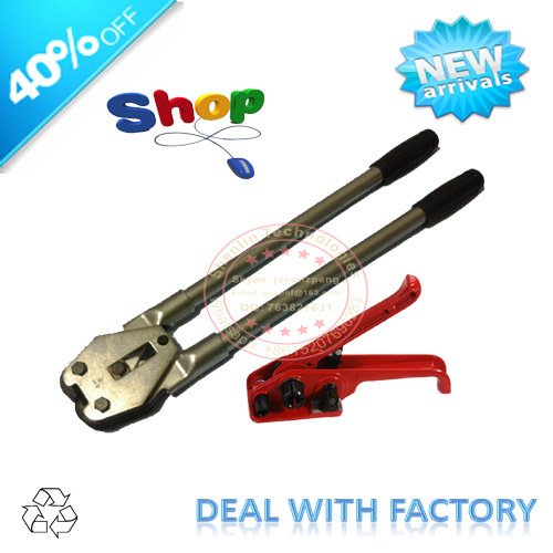 "Manual strapping tool, banding machine, 6/8""19mm wide,handy stronger design,tensioner+sealer,steel strapper,red,durable,packing"