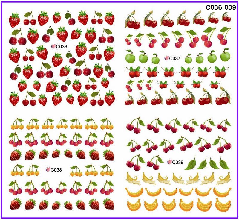 4 PACKS / LOT FULL COVER FRUIT BANANA STRAWBERRY CHERRY NAIL TATTOOS STICKER WATER DECAL NAIL ART C036-039(China (Mainland))