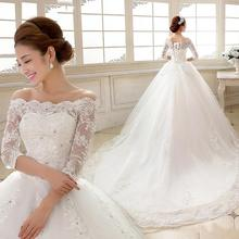 New A Line Sequined Off The Shoulder Three Quarter Sleeve Court Train White Satin Bridal font