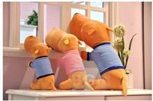 Plush dog toy lovely big head dog cute stuff doll blue stripe cloth dog birthday children gift about 80cm