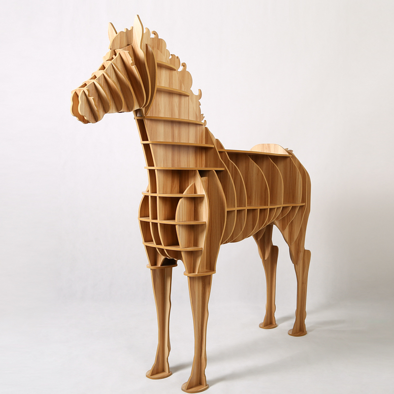 1 set creative table basse wooden big horse wood craft for for Decoration table basse