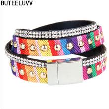 Summer National Retro Bohemian Women Bracelet Colorful Dyed With Rivets Rhinestone Magnet Clasp Rainbow Bracelet Hot Sale LL097(China (Mainland))