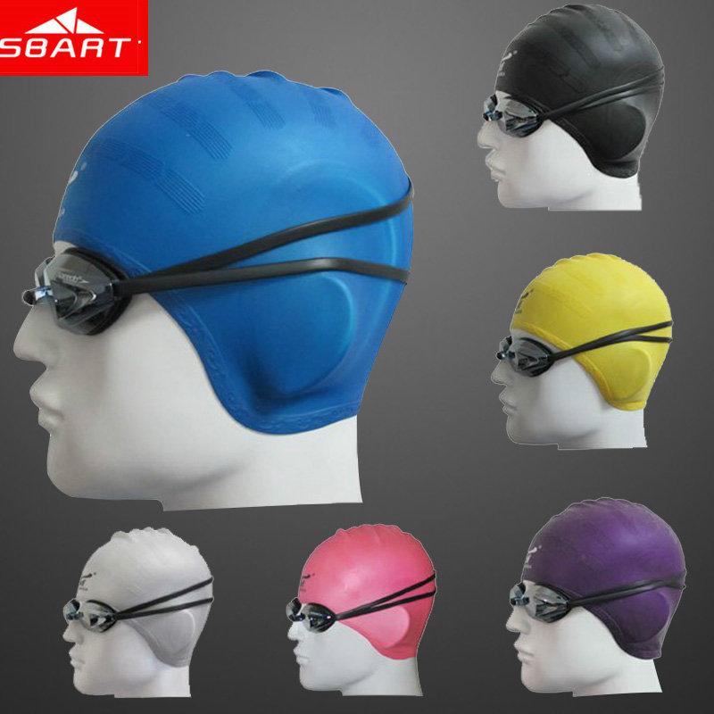 SBART Silicone Swimming Cap Women Waterproof Ear Swimming Caps For Long Hair Diving Hat Adult Swim Cap With Ear Cup Brand 2015 R(China (Mainland))