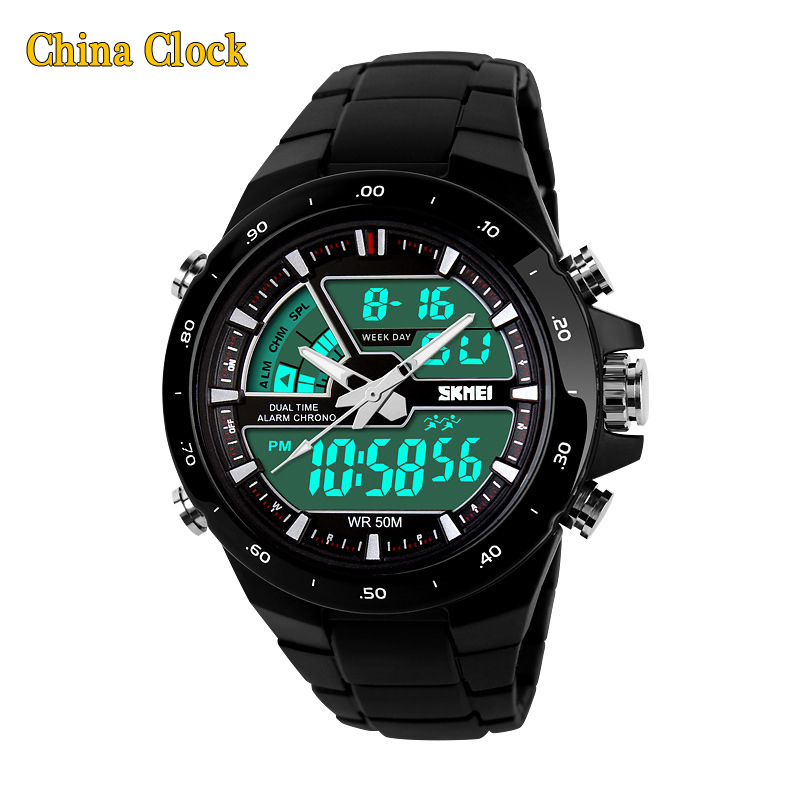 Гаджет  New 2015 Men Sports Watch Clock 50M Waterproof Dive Swim Fashion Digital Watch Military LED display Multifunctional Wristwatches None Часы