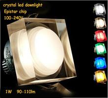 Free shipping 4pcs x square led downlight 1W white/warm white led light 100-240V Epistar chip led lamp decoration light(China (Mainland))