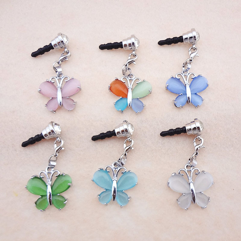 2pcs/lot Butterfly Shape Opal Pendant Dust Plug Cell Phone Accessories For Iphone4 5 6 And All Normal 3.5mm Earphone Jack Plug(China (Mainland))