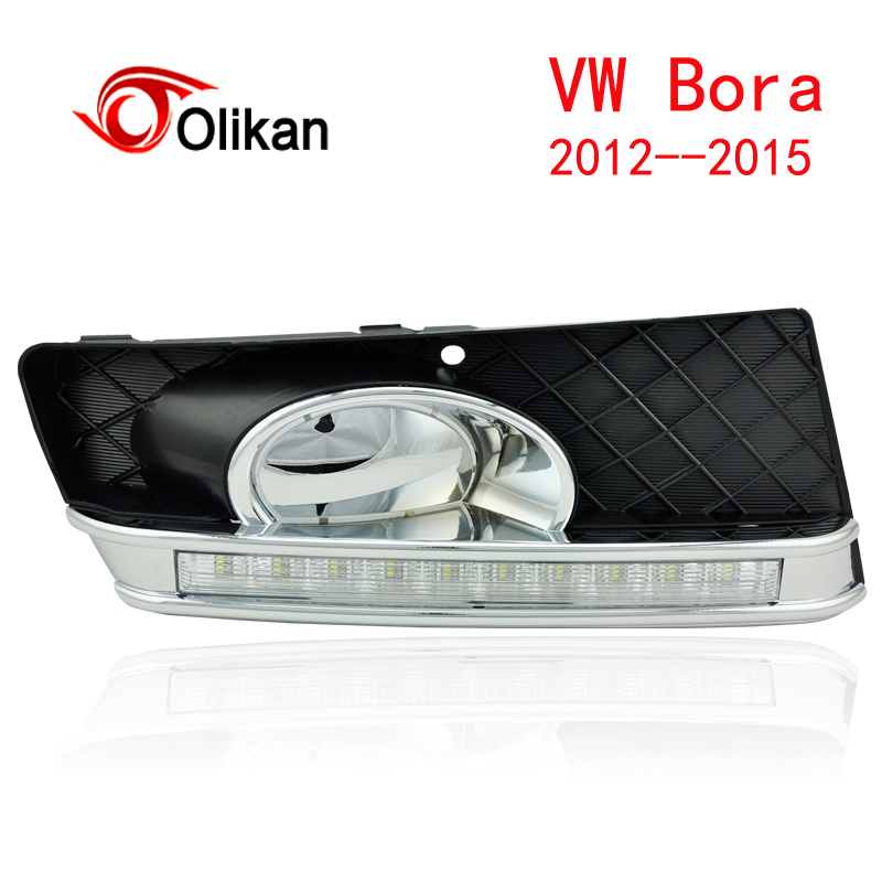 Фотография Turn off and dimming style relay LED Car DRL Daytime Running Lights for  VW  Bora 2012 2013 2014  2015  with fog lamp