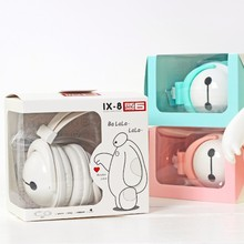 2016 Baymax Headphone with Mic for Iphone 5 5s 6 6plus cute music stereo kids mobile phone headset cartoon headband X8