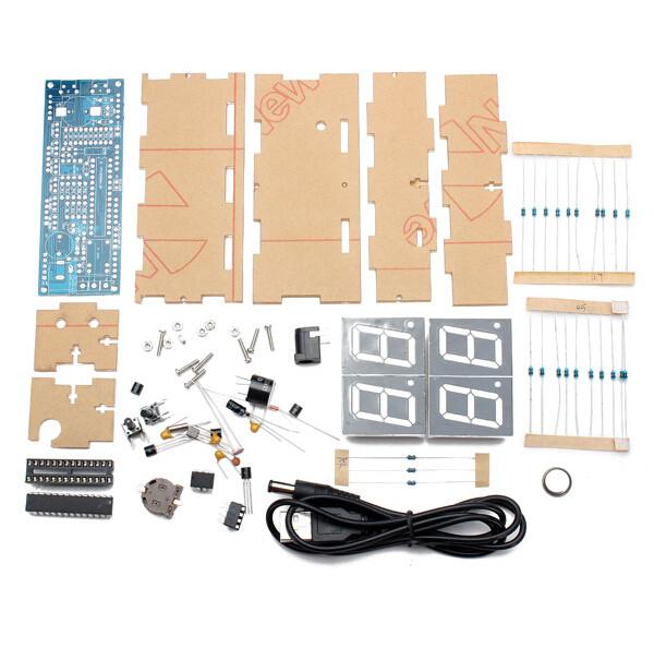 New White 4 digit 1 inch LED digital clock kit DIY kit Digital LED Electronic Microcontroller Clock Large Screen display time(China (Mainland))