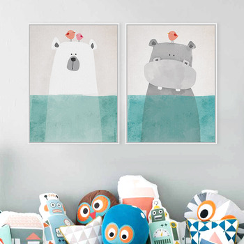 2 Panel Modern Bear Hippo A4 Funny Animal Poster Prints Kawaii Picture Canvas Paintings Gifts Hipster Living Room Decor Wall Art