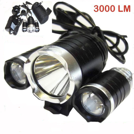 Mountain Bike Cycle Bicycle Lights 3000 Lumens 3x CREE XM-L T6 LED & 2x XPE R2