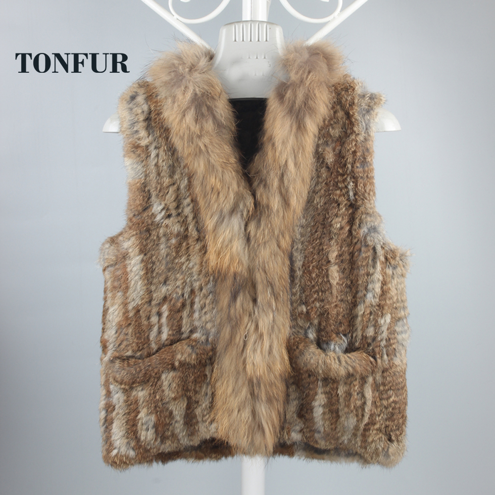 Genuine Rabbit Fur Vest Knitted Rabbit Fur Gelit With Raccoon Fur Waistcoat Plus Size Winter Fur Outwear DFP783(China (Mainland))