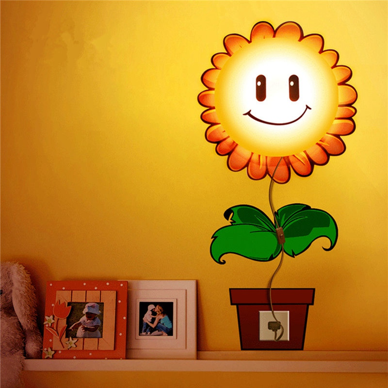 3D DIY Cute Sunflower Cartoon LED Wallpaper Lamp Light Wall Sticker Removable Kid Bedroom Night Lights for House Bedroom Decor
