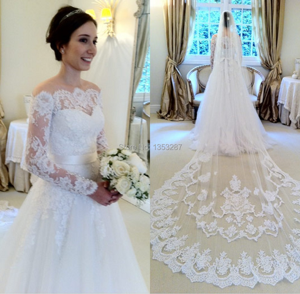 Elegant a line wedding dress with veil casamento long for Long sleeve dresses to wear to a wedding