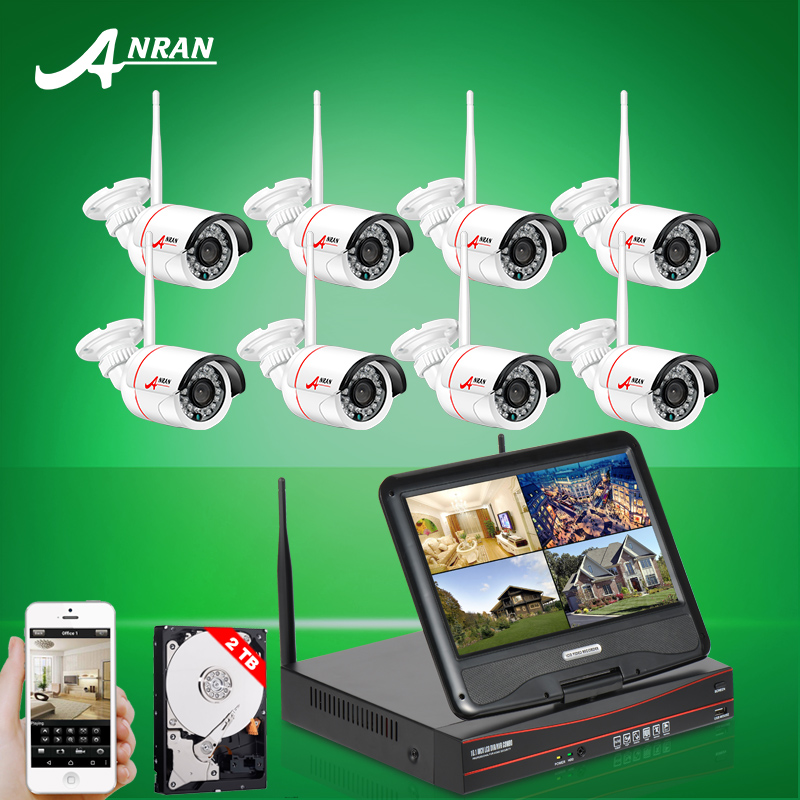 "2016 New Plug And Play 8CH Wireless Surveillance System 10""LCD NVR 2TB HDD 720P HD IP Outdoor IR Night Vision Security Camera(China (Mainland))"