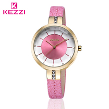 New Arrive Kezzi Cool Personalized 30M Waterproof  Japan Movement Leather Ladies and students  Fashion Watch Quartz Watch